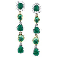 Muzo Emerald Colombia Emerald Diamonds 18K White and Yellow Gold Dangle Earrings