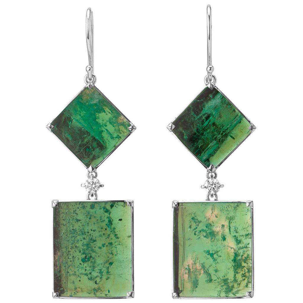 Muzo Emerald Colombia Emerald Diamonds 18K White Gold Art Deco Style Earrings