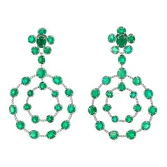 Muzo Emerald Colombia Emerald Diamonds 18 K White Gold Chandelier Earrings