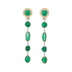 Muzo Emerald Colombia Diamonds 18K Yellow and White Gold Dangle Earrings