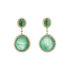 Muzo Emerald Colombia Diamonds 18K Yellow Gold Drop Earrings