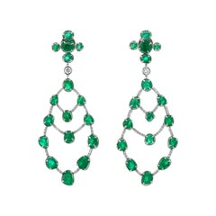 Statement Muzo Emerald Colombia Chandelier Earrings Diamond Pave 18K White Gold