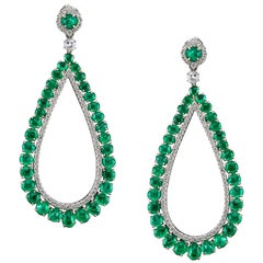 Muzo Emerald Colombia Diamonds 18K White Gold Modern Chandelier Earrings