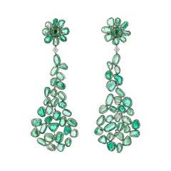 Muzo Emerald Colombia Diamonds 18K White Gold Dangle Earrings Baroque Style