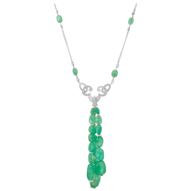 Muzo Emerald Colombia White Diamonds 18K White Gold Renaissance Pendant Necklace