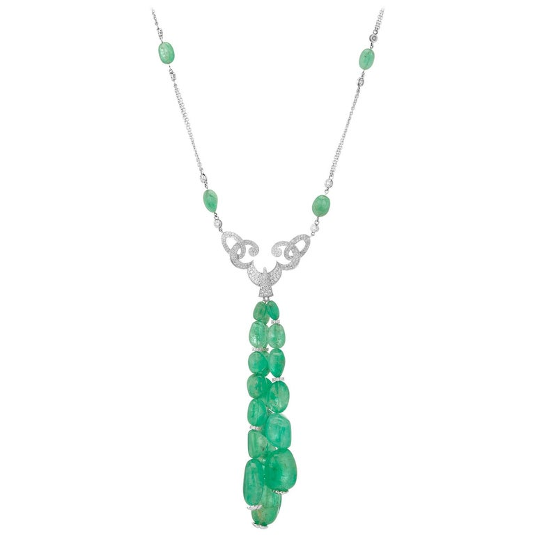Muzo Emerald Colombia White Diamonds 18K White Gold Renaissance Pendant Necklace For Sale