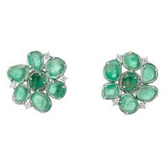 Muzo Emerald Colombia Flower Motif Stud Earrings Diamonds 18K White Gold