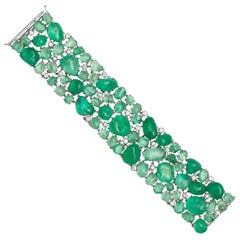 Muzo Emerald Colombia Diamonds 18K White Gold Classic Cuff Bracelet