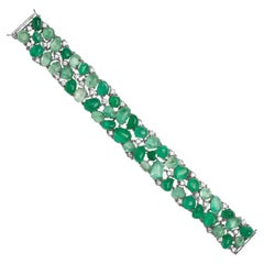 Muzo Emerald Colombia Classic 2 Row Cuff Bracelet Diamonds 18K White Gold
