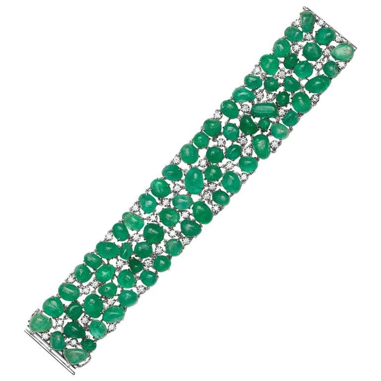 Muzo Emerald Colombia Emerald White Diamonds 18 Karat White Gold Bracelet For Sale