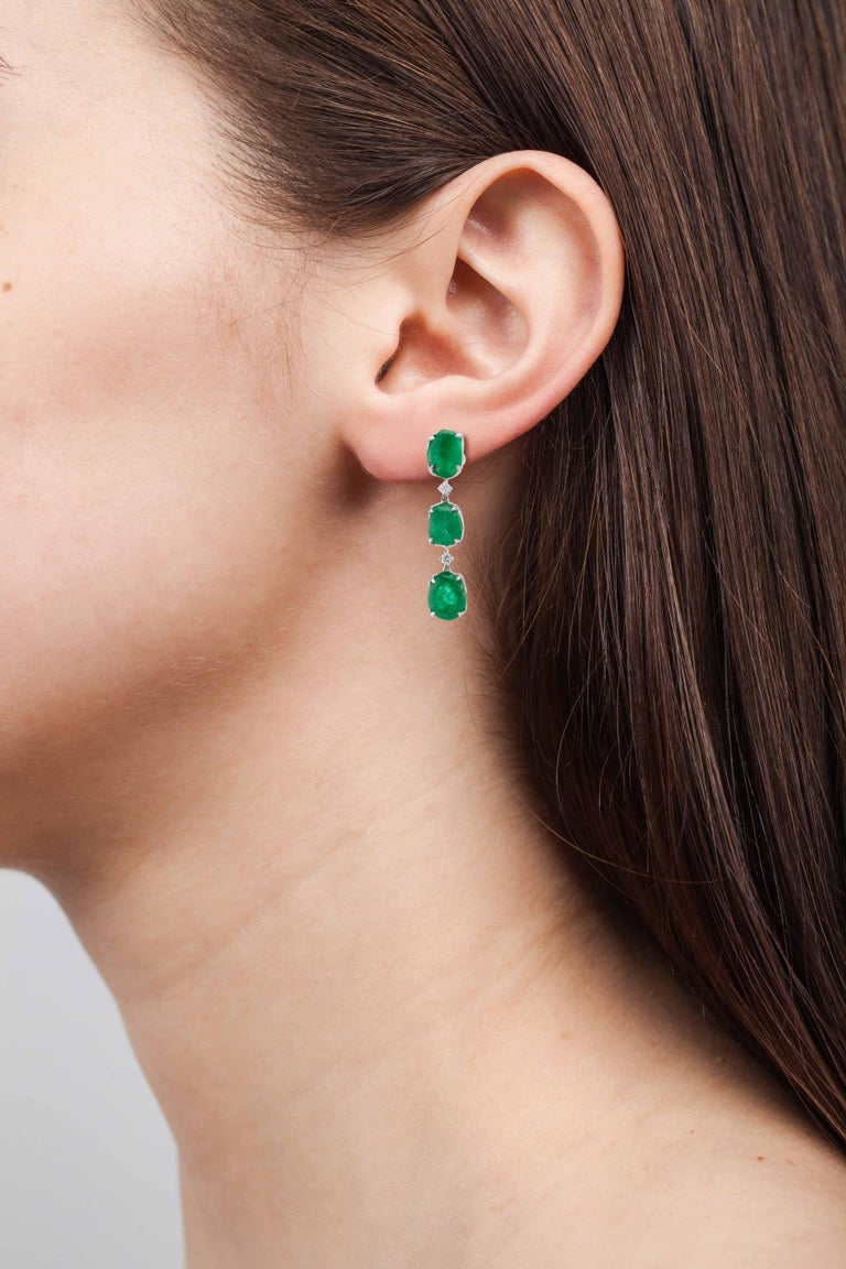 Muzo Emerald Colombia Heritage Muisca Earrings set with 24.07 carats Emerald  Named in honor of the ancient indigenous people of the Muzo region of Colombia, the Muiscas are one of four advanced civilizations of the Americas. As legend has it, the