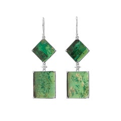 Muzo Emerald Colombia Emerald Diamonds 18K White Gold Art Deco Drop Earrings