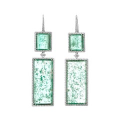 Muzo Emerald Colombia White Diamonds 18K White Gold Drop Earrings