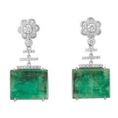 Muzo Emerald Colombia Emerald White Diamonds 18K White Gold Drop Earrings