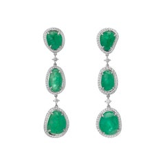 Muzo Emerald Colombia Emerald Diamonds 18K White Gold Drop Earrings