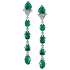 Muzo Emerald Colombia Diamonds 18K White Gold Long Drop Claw Earrings