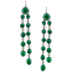 Long drop Muzo Emerald Colombia Earrings in 18K White Gold