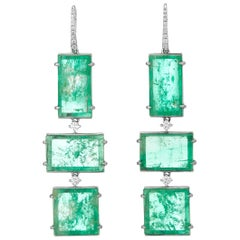 Muzo Emerald Colombia Diamonds 18K White Gold Art Deco Style Drop Earrings
