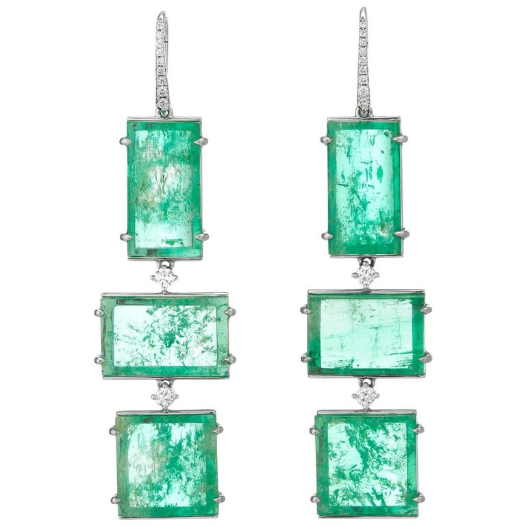 Muzo Emerald Colombia Emerald White Diamonds 18 Karat White Gold Drop Earrings For Sale