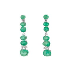 Muzo Emerald Colombia Diamonds 18K White Gold Contemporary Drop Claw Earrings