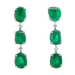 Muzo Emerald Colombia Emerald White Diamonds 18 Karat White Gold Drop Earrings