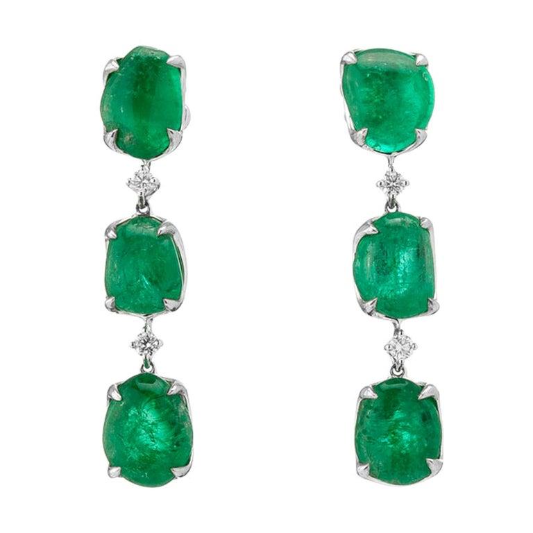 Muzo Emerald Colombia Emerald White Diamonds 18 Karat White Gold Drop Earrings