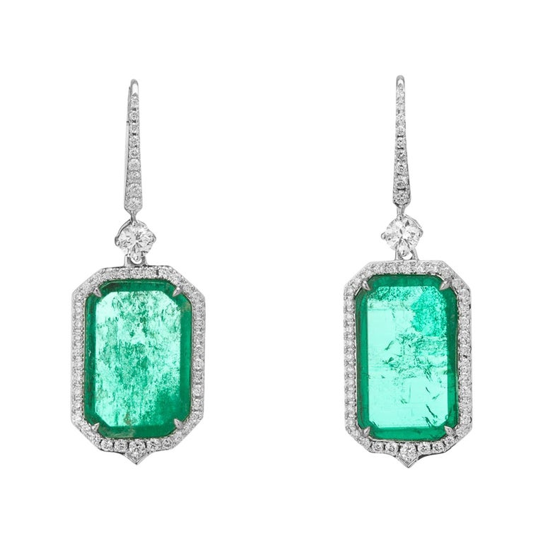 Muzo Emerald Colombia Emerald White Diamonds 18K White Gold Drop Earrings For Sale