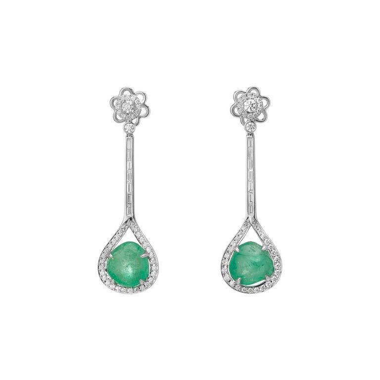 Muzo Emerald Colombia Diamonds Art Deco Style 18K White Gold Earrings For Sale