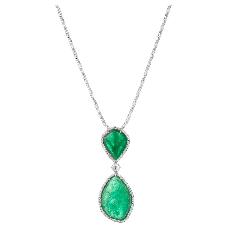 Muzo Emerald Colombia Diamonds Classic 18K White Gold Chain Necklace