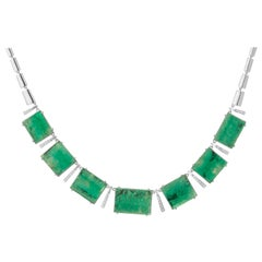 Muzo Emerald Colombia Diamonds Art Deco 18K White Gold Choker Necklace