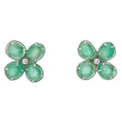 Muzo Emerald Colombia Emerald White Diamonds 18K White Gold Stud Earrings