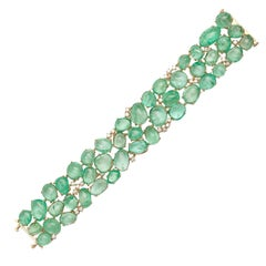 Muzo Emerald Colombia Diamonds 18K Yellow Gold Classic Cuff Bracelet