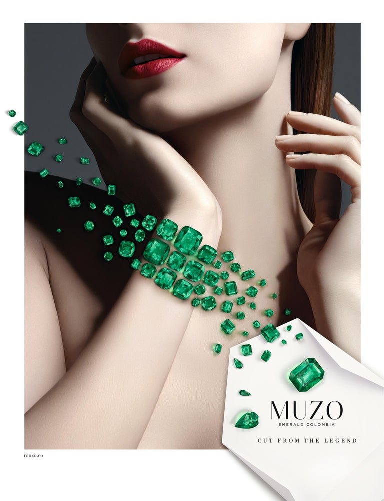 Muzo Emerald Colombia Heritage Muisca Bracelet set with 111.57 carats Emerald  Named in honor of the ancient indigenous people of the Muzo region of Colombia, the Muiscas are one of four advanced civilizations of the Americas. As legend has it, the