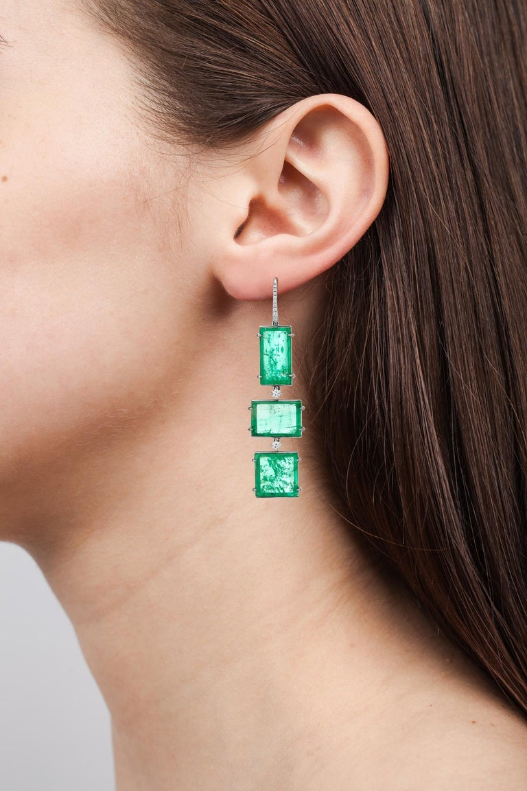 Muzo Emerald Colombia Heritage Atocha Earrings set with 34.86 carats Emerald  Atocha is inspired by a collection of jeweled treasures destined for the Royal family, who ruled the Spanish Empire in the 17th century.  The galleons of the Nuestra
