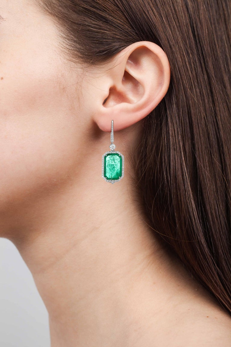Muzo Emerald Colombia Heritage Atocha Earrings set with 6.07 carats Emerald  Atocha is inspired by a collection of jeweled treasures destined for the Royal family, who ruled the Spanish Empire in the 17th century.  The galleons of the Nuestra Señora