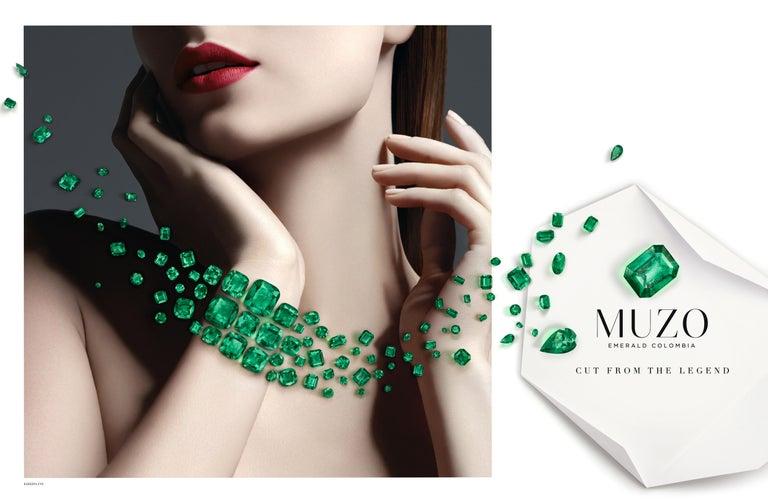 Muzo Emerald Colombia Emerald White Diamonds 18 Karat White Gold Drop Earrings For Sale 1