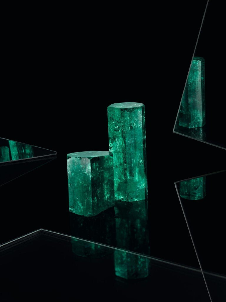 Muzo Emerald Colombia Emerald White Diamonds 18 Karat White Gold Drop Earrings For Sale 2