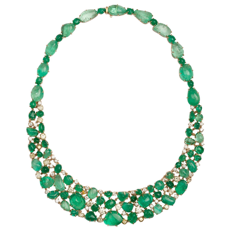 Muzo Emerald Colombia Emerald Yellow Diamonds 18K Yellow Gold Choker Necklace