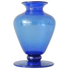 M.V.M Cappellin Murano Glass Vase Model No. 5383 in Blue, Italy, 1920s