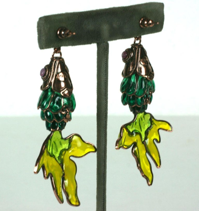 MWLC Poured Glass Koi Fish Earrings In Excellent Condition For Sale In Riverdale, NY
