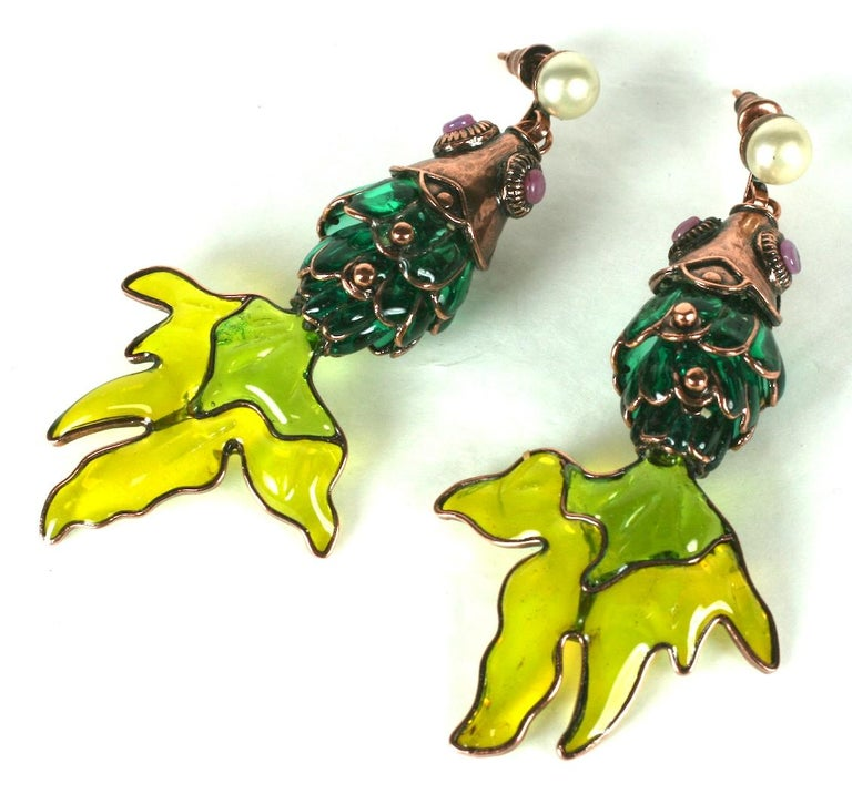 Women's MWLC Poured Glass Koi Fish Earrings For Sale