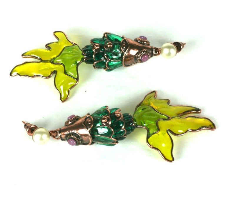 MWLC Poured Glass Koi Fish Earrings For Sale 1