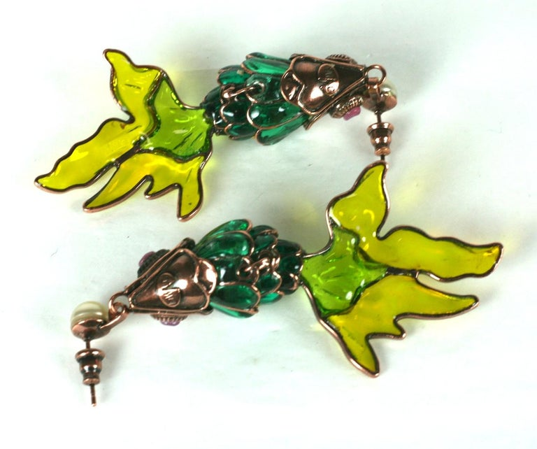 MWLC Poured Glass Koi Fish Earrings For Sale 2
