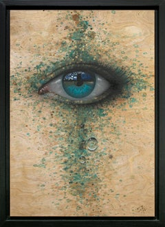 """""""So, this is it"""", Eye Painting, Realistic, Realism, Acrylic, Spray Paint on Wood"""