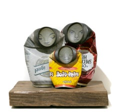 """""""Family"""", Folded Can Freestanding Sculpture, Painted faces, Found objects"""