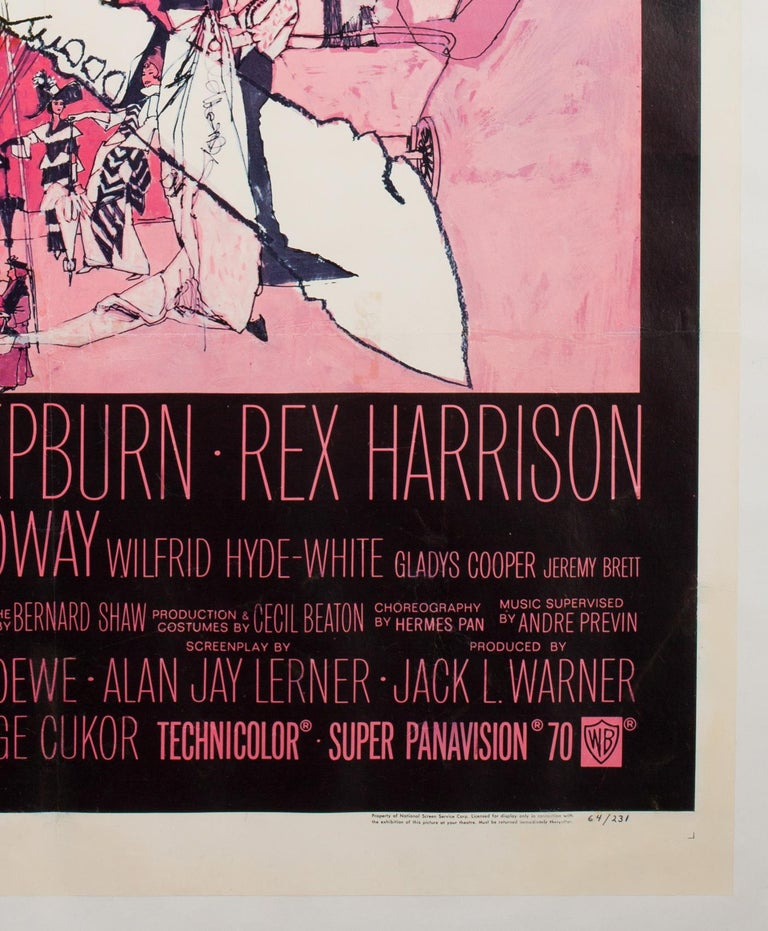 Featuring the much celebrated artwork by Bob Peak, the US vintage 1 sheet for the movie 'My Fair Lady', starring Audrey Hepburn and Rex Harrison, is certainly very charming indeed.  Actual film poster size is 26 6/8 x 41 3/8 inches (28 6/8 x 43