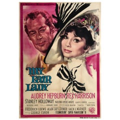 My Fair Lady Original Italian Film Movie Poster, 1964, 2 FOGLIO, Linen Backed