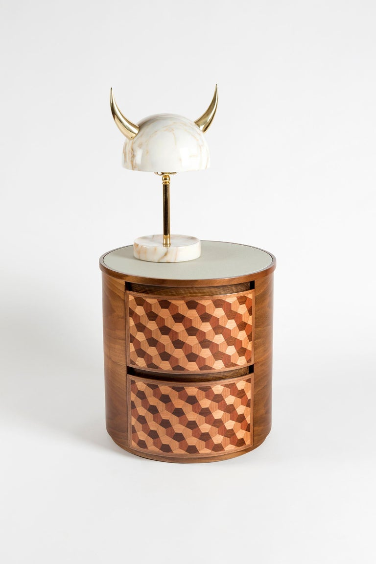 Turkish My Little Viking Marble and Brass Table Lamp by Merve Kahraman For Sale