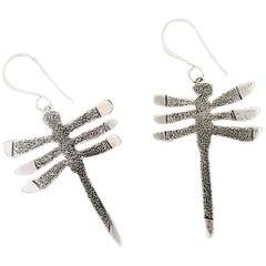 My Protectors, Melanie Yazzie three winged dragonfly earrings silver Navajo