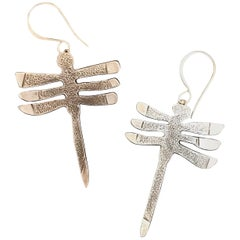 My Protectors, Melanie Yazzie three winged dragonfly earrings silver Navajo